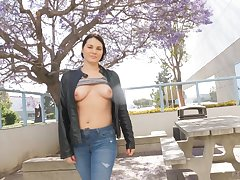 Outdoors public tits flashing by a naughty MILF brunette Madeline