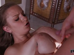 Blonde babe Suzie licks her tits while she fucks and swallows cum