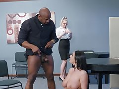 Angela White spins massive black inches at the office