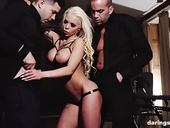Inked mature blonde whore Barbie Sins fucked with the addition of throated by two men