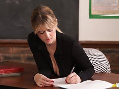 Cognizant good cleverage flashed hard by mesmerizing busty tutor Brook Little