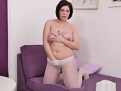 Euro Added to Nyloned Milf Nicol Rubs Her Dream Cunt