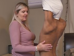 Blonde randy mature MILF Velvet Skye pounded by a younger black guy