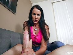 Brunette MILF Reagan Foxx gets splashed wide cum on her light