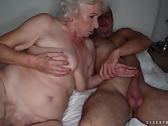 Grandma sucks a stiff cock and gets pounded on