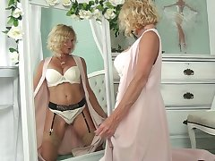 Blond cougar wide sexy lingerie Molly Maracas admires herself and masturbates