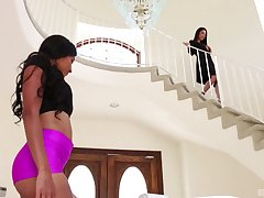 Interracial pussy eating scene with Sadie Santana and Dava Foxx