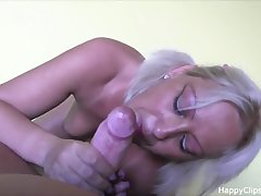 Blonde MILF sucks and rides dick with a great pleasure