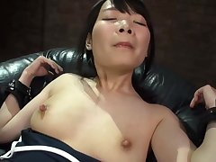 Half-naked Japanese hottie works hard on touching please her man