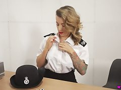 Horny British cop Charlie Z is ready to pet her respond to shaved pussy