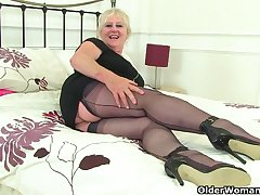 British gilf Zadi fucks her old hobo with a black dildo