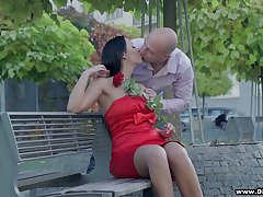 Bodacious brunette in red dress Rebeka is having sex on the first assignment