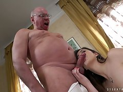 Svelte and pale cowgirl Anya Krey rides strong old cock nearly reverse position