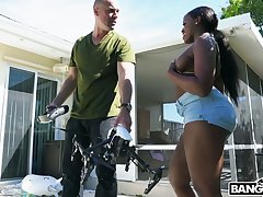 Seduced in its entirety black neighbor Nyna Stax rides strong cock at backyard