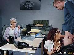 Hot bossy milf in specs takes advantage of their way worker at work
