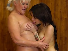 Juliene and Kaitlyn lick each others pussies to hand a sauna