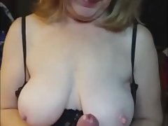 Super handjob leas to a cum explosion after witch she smears her boobs with my jizz.