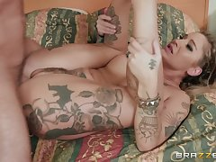 Inked blonde whore Kleio Valentien ass increased by pussy fucked primarily bed