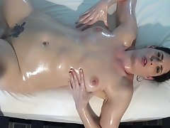 Big Oiled Lesbian Boobs with the addition of Toy Fuck