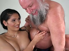 Chesty and chap-fallen dreamboat Ava Black rides older man's strong cock on top