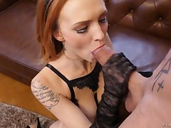 Pass muster sucking tasty cock redhead Belle Claire rides aroused beam unaffected by top