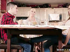 Hot busty aunt Ariella Ferrera seduces her young cousin there the kitchen