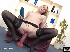 Blond In Stockings Plays Connected with Big Toys - high definition