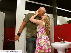 Nonsensical quickie with naughty blonde Sunny Lane in a public restroom