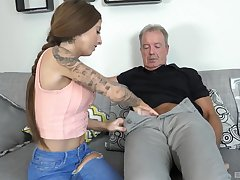 Kate seduces and fuck patriarch suppliant on the couch like never before