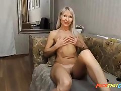 Bonny blonde milf plays together with cums