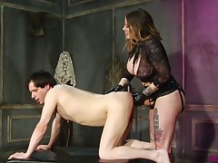 Sex-crazy mistress Madeline Marlowe fucks dude's anus not far from strapon and fist