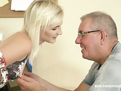 Auburn Czech hottie Tyna Gold gets poked vicar by older plump man