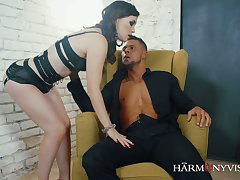 Tattooed whore wife Misha Cros puts on sexy lingerie with the addition of bangs the brush husband